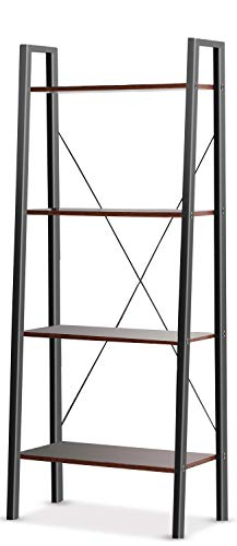 Homfa 5-Tier Corner Shelf, Free Standing Ladder Shaped Plant Flower Stand Rack Bathroom Storage Tower Industrial Style Utility Organizer Wood Look Accent Metal Frame Modern Furniture Home Office