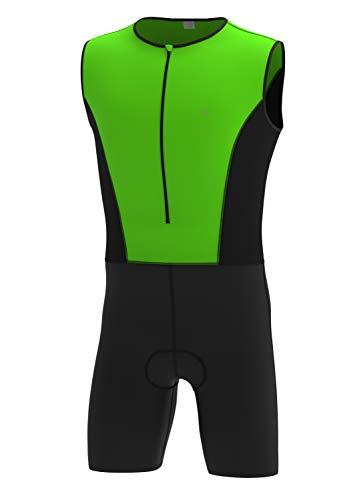 Triathlon-Bekleidung, Einteiler für Triathlon, Fahrradbekleidung XL Grün / Schwarz