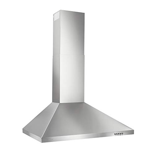Broan-NuTone BW5030SSL Convertible, 3-Speed Modern European Design Wall-Mounted LED Lights Stainless Steel Chimney Range Hood, 30-Inch