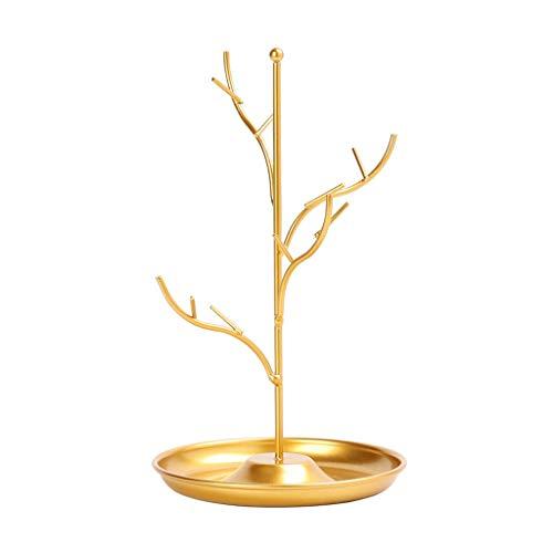 SSMDYLYM Soporte de exhibición de Joyas Rack Tree Stand Soporte Collar de Hierro Pendiente Pulsera Pulsera Organizador de Moda (Color : Gold)