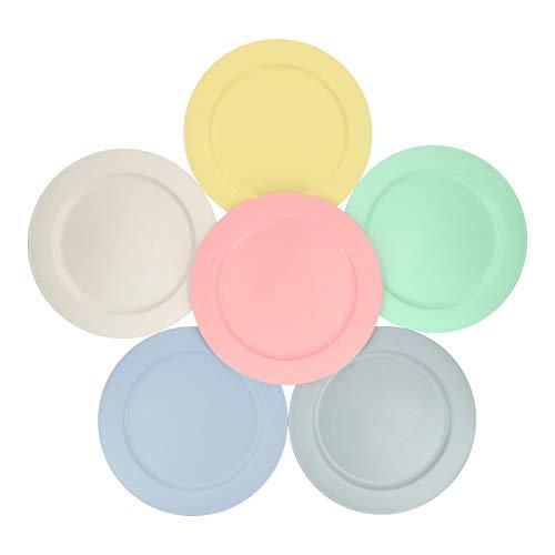 10インチ 竹繊維 プラスチック ディナープレート (6枚/パック) - 壊れない、軽量、非毒性、BPAフリー、冷凍庫、食洗機、電子レンジ対応 - 子供、幼児、子供、大人用 - アソートカラー
