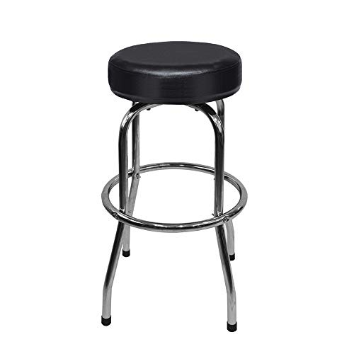 Ruedamann Swivel Bar Stool/Shop Stool with Black Leather Padded Chrome Frame,Holds Up to 300 lb, Black (RDB2002B)