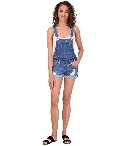 dollhouse Women's Ripped Denim Shortalls with Adjustable Straps, Size 7, Canary Isle (Medium)