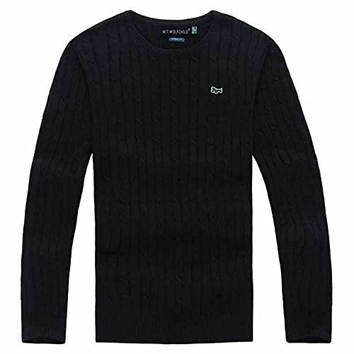 Suéter Primavera Otoño Suéteres para Hombre 100% Algodón Marca Jerseys Hombres De Punto De Manga Larga Casual para Hombre Tops De Punto M Negro