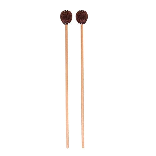 1 Paar Marimba Mallets Mittel Schwer mit Garn-Kopf Buche Musikinstrument Zubehör (Color : Coffee)