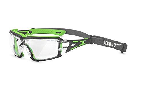 PEGASO 103.03 - Gafas proteccion gama ANTI-IMPACT modelo BLACK WHITE Lente PC Inc. Antivaho Banda elástica, verde y negro, L