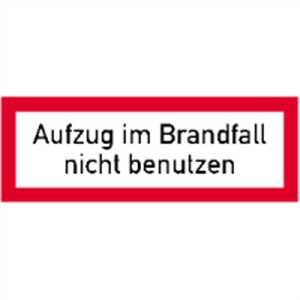 Schild Aufzug im Brandfall nicht benutzen gemäß VDI 6017 Alu 52 x 148 mm (Brandschutz) praxisbewährt, wetterfest