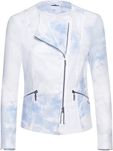 Airfield Damen Kragenlose Kurzjacke Peach Jacket Größe 48 EU Weiß (weiß)