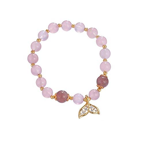 Chica de verano corazón rosa fresa oro pulsera nicho femenino dulce temperamento pulsera simple