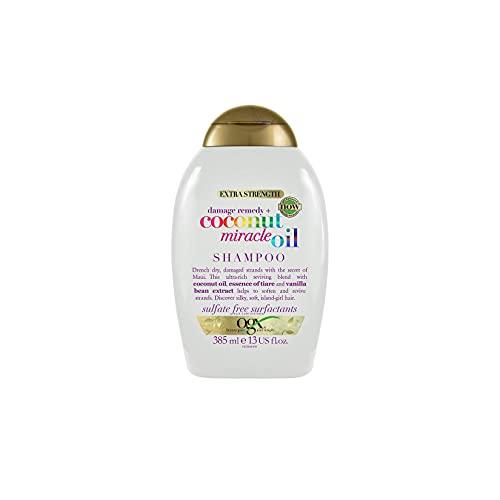 OGX Champú Reparador sin Sulfatos ni Parabenos para Cabello Dañado, Coconut Miracle Oil, 385 ml