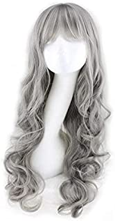 Long Curly Wig Big Wave Heat Resistant Synthetic Hair with Bangs for Cosplay Costume Halloween Party (Silver Grey)