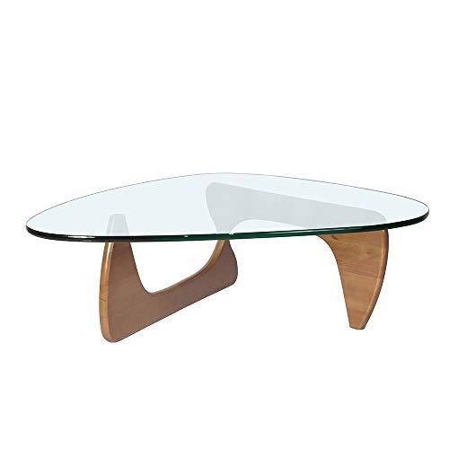 Mesa de centro triangular, de cristal, mesa de centro de Noguchi, mesa de centro de cristal templado de mediados de siglo con base de madera maciza para sala de estar, balcón, oficina, patio, salón