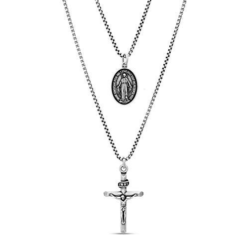 Steve Madden Men's Oxidized Crucifix and French Religious Charm Pendant Double Strand Chain Necklace Set in Stainless Steel, Silver, 28