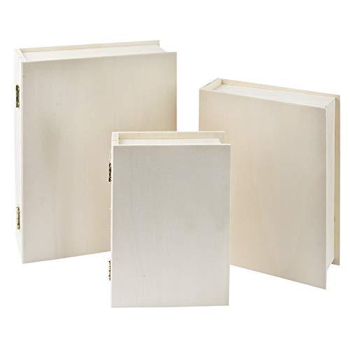 Caja de almacenamiento de madera con forma de libro de 4 x 15 x 11 cm con tapa, joyero, caja con tapa abatible, bricolaje, manualidades