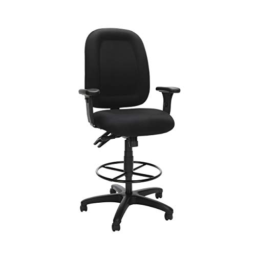 OFM 125-DK Ergonomic Task Chair with Arms and Drafting Kit, Mid Back, Black