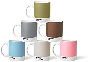 Pantone BecherSet2 Porcelain Mugs 6 x 375 ml Coffee Cups with Handles Dishwasher Safe Pastel and Metal Colours