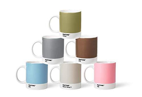 Pantone BecherSet2 Porzellan Becher 6er-Set, 6 Kaffeetassen à 375 ml, coffee, mit Henkel, spülmaschinenfest, Pastell-und Metallfarben, Pastell & Metall