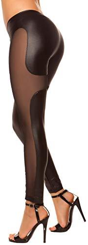 Firstclass Trendstore sexy Leggings mit mesh-Look * Gr. S-XL * Leggins Clubwear Hose Damen (900750 schwarz S/M IN50551)