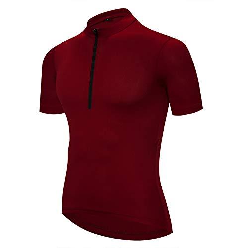 Maillot de ciclismo de manga corta para hombre – Camisa de ciclismo con media cremallera reflectante en la noche, Hombre, color rojo, tamaño XL(Your Chest 38'-39')