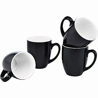 Culver 16-Ounce Bistro Ceramic Mug, Black, Set of 4