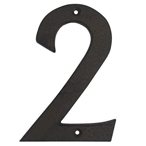 "Treasure Gurus 6"" Rustic Brown Cast Iron Metal House Address Number 2 Business Phone Numbers #2"