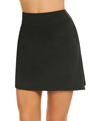 Ekouaer Women Golf Skort Lightweight Breathable Comfy Athletic Active Skirt with Shorts S-XXL Black