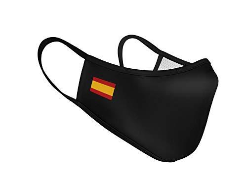 Mascarillas Higiénica de Tela Homologada Reutilizable Bandera de España Sencilla - Negra