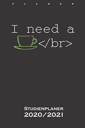 Großer Kaffee in Programmiersprache Studienplaner 2020/21: Semesterplaner (Studentenkalender) für Computerfans und Internet Nerds