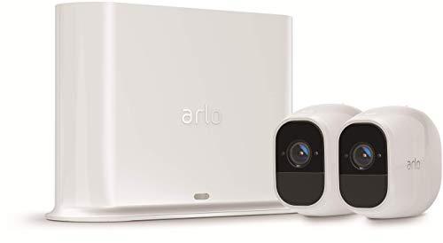 Arlo Pro2 VMS4230P Sistema di Videosorveglianza Wifi con Due Telecamere di Sicurezza, Audio 2 Vie, Batteria, Full Hd, Visione Notturna, Interno/Esterno, Vcr Opz, Funziona con Alexa e Google Wifi