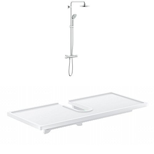 Grohe Euphoria Brausestangenset mit Thermostat,180mm, Duscharm 450mm, 27296001 (Good) + Easyreach Ablage