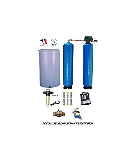 Adoucisseur d'eau duplex 2x100L fleck 9500 complet