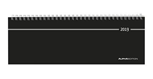 Tisch-Querkalender schwarz 2019 - Bürokalender / Tischkalender (28,5 x 10) - 1 Woche 2 Seiten