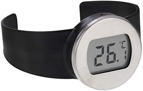 Thermometer LGMIN Celsius Grad Digitale LCD-Anzeige Weinflasche Thermometer, Geeignet Flasche Durchmesser: 65-80mm (Schwarz + Silber) Hohe Präzision