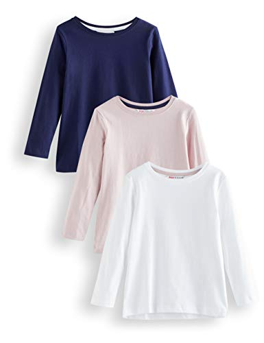 Amazon-Marke: RED WAGON Mädchen Langarmshirt 3er pack, Mehrfarbig (White, Lilca And Navy), 110, Label:5 Years