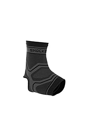 Shock Doctor Ankle Brace Support Compression Sleeve (1 Sleeve). Best for Ankle/Foot Instability Swelling, Arthritis, Tendonitis, Joint Pain, Sprains, Recovery, Achilles Tendon and Arch Support, Medium, Grey/Black