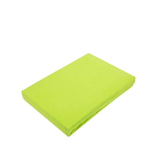 Exklusiv Heimtextil - Sábana bajera ajustable con goma elástica en todo el contorno, 100 % algodón, verde manzana, 60 x 120 - 70 x 140 cm