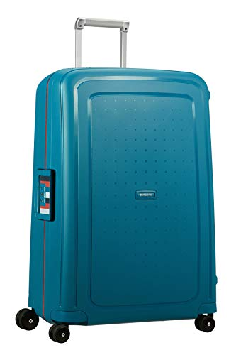 Samsonite S'Cure Spinner L Valigia, 75 cm, 102 L, Blu (Petrol Blue Stripes)