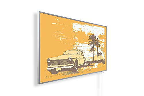 Könighaus Fern Infrarotheizung - Bildheizung in HD Qualität mit TÜV/GS - 200+ Bilder – mit Smart Home Thermostat, steuerbar mit APP für Handy- 1000 Watt (162. Cuba Auto)