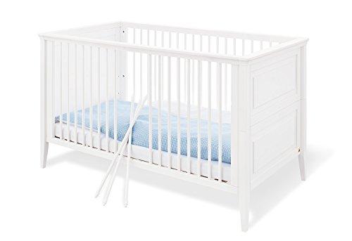 Pinolino 111673 wandelbares, solide, lit pour enfant avec 3 barreaux, en pin vollmassiver, rénovation pages inclus, 140 x 70 cm, lasuré blanc