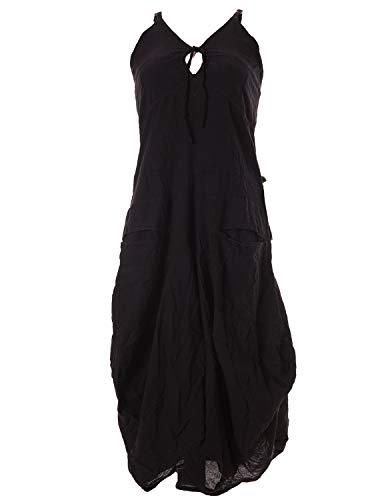 Vishes - Alternative Bekleidung - Lagenlook Ballonkleid mit verstellbaren Trägern schwarz 38-40 (L)