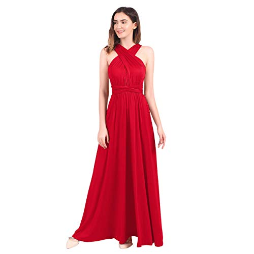 Vestido sexy convertible multidireccional para mujer con hombros descubiertos, largo hasta el suelo, para cóctel, boda, dama de honor, para baile de graduación Rojo rosso XL