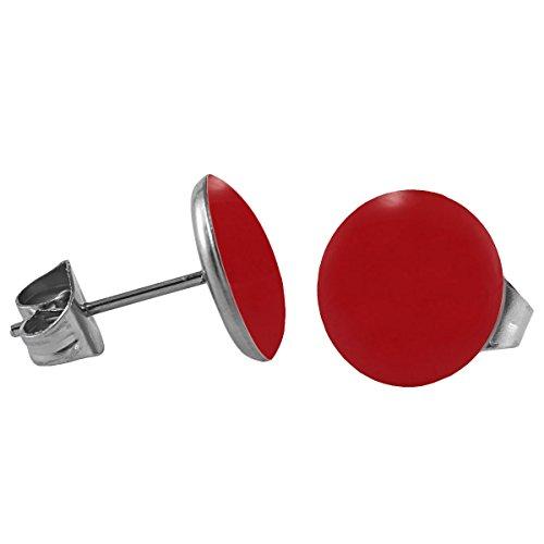 Mein-Ohrstecker Chirurgenstahl Emaille Ohrringe Edelstahl Farbe Rot, Größe 10 mm