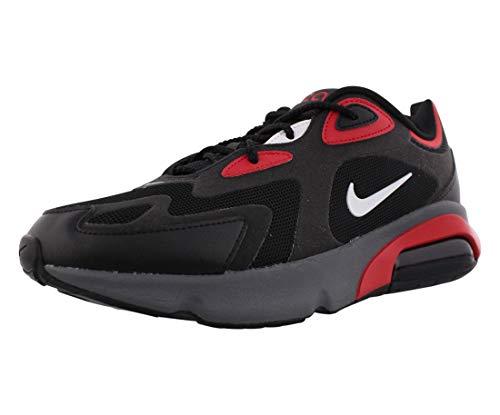 Nike Air MAX 200, Zapatilla De Correr para Hombre, Negro Blanco Universidad Rojo Gris Oscuro, 42 EU