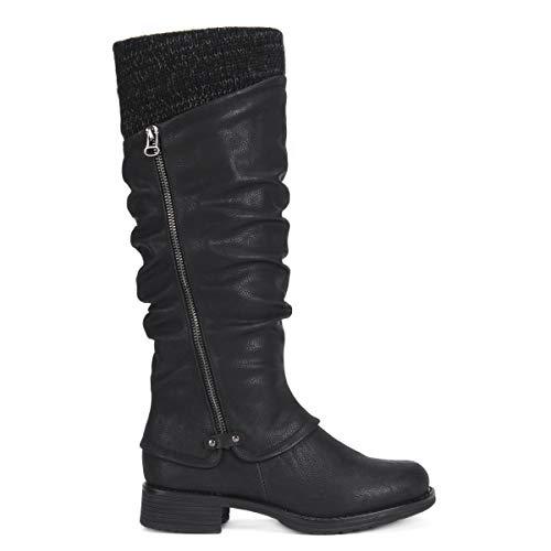 MUK LUKS Women's Bianca Boots Fashion, Black, 6