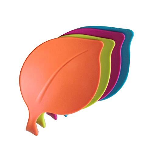 UPKOCH 4 tapas de silicona herméticas para tazas, diseño de hojas