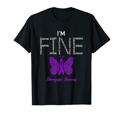 I'm Fine Fibromyalgia Awareness Purple Ribbon Funny T-Shirt