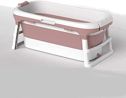 Bañera plegable adulto grande bañera portátil, barril de baño plegable para ducha, baño grande de baño de plástico para niños - Piscina para niños (Color : Pink)