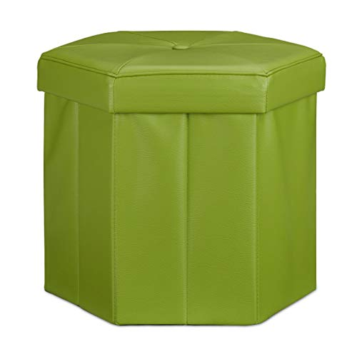 Relaxdays Tabouret de rangement pliant pouf avec couvercle H x l x P: 38 x 42 x 42 cm coffre en similicuir banc pliable repose-pieds, vert
