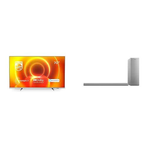 Philips 70PUS7855/12 Televisor Ambilight de 70' (4K UHD, P5 Engine, Dolby Vision∙Atmos, Alexa Integrado, Smart TV) con Barra de Sonido con Subwoofer B6405/10 (Bluetooth, 140W, Dolby Audio) Plata