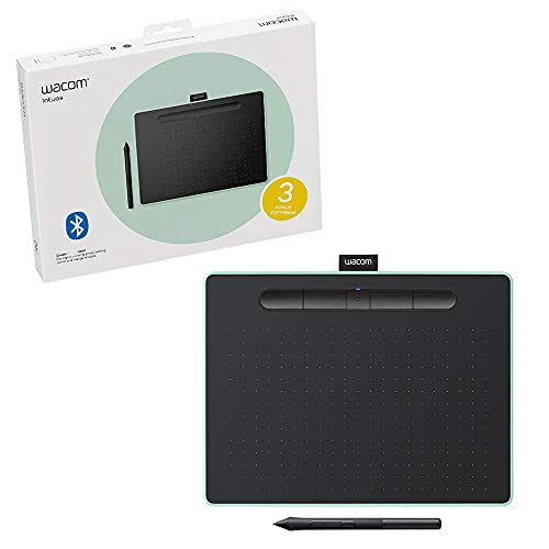Wacom Ctl6100Wle0 Intuos Wireless Graphic Tablet With 3 Software Included, 10.4' X 7.8', Pistachio (Renewed)